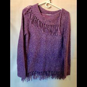 Purple shawl neck fringe sweater by Modern Soul XS